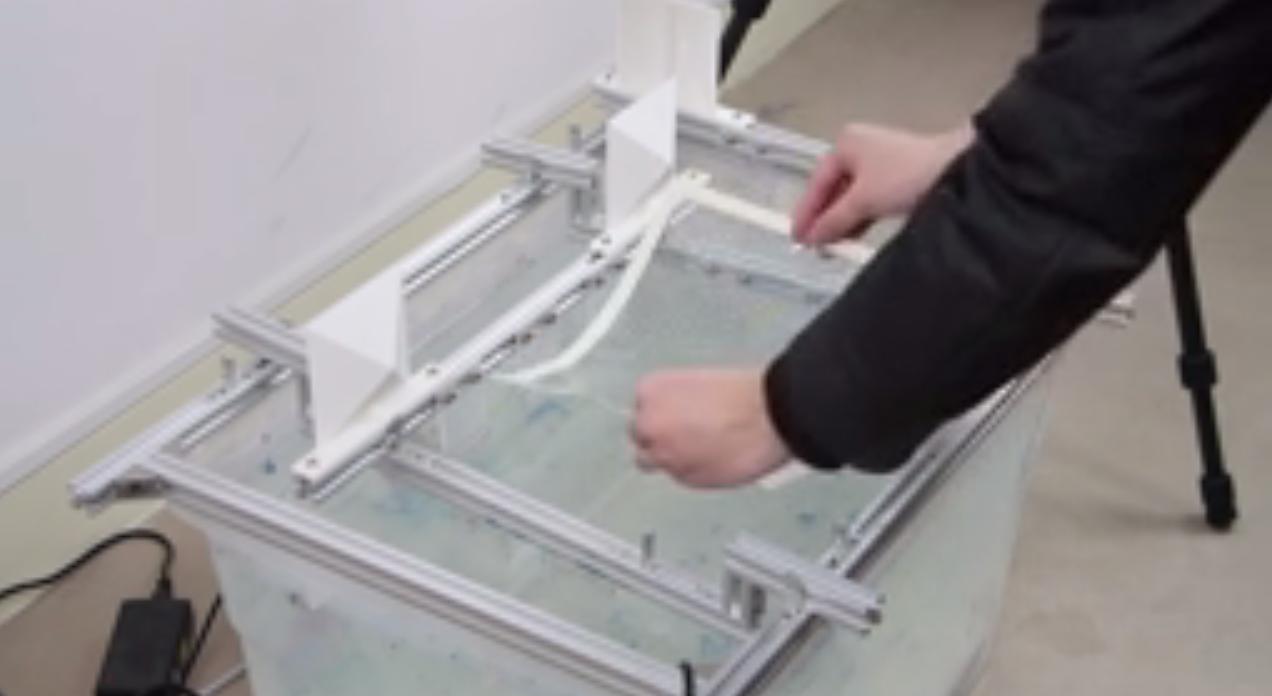 印刷済のフィルムを水面に浮かべる