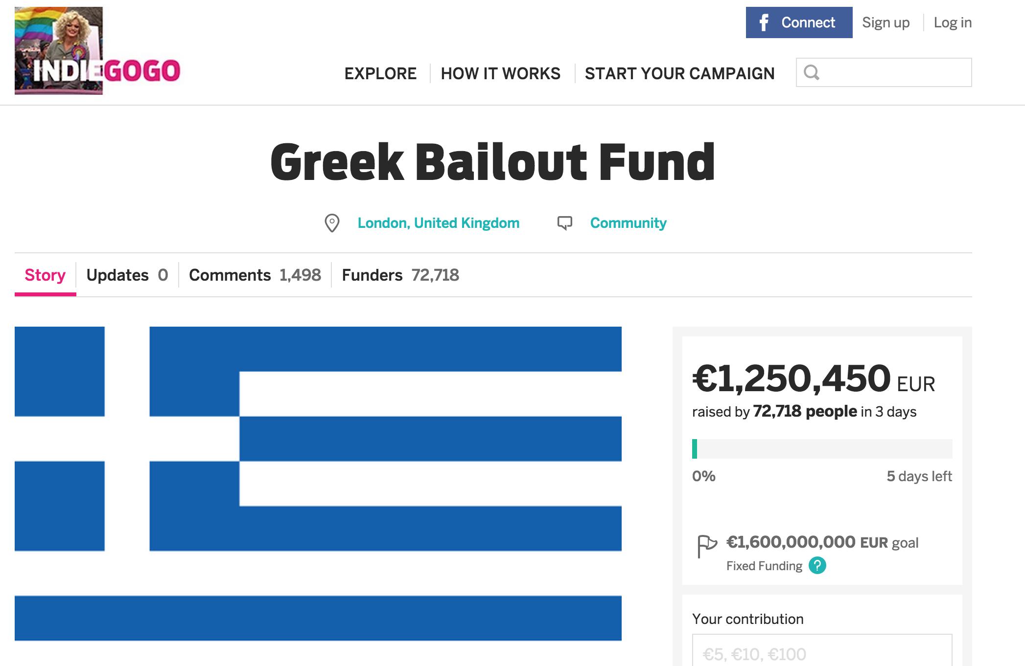 ギリシャを救うインディゴーゴープロジェクト