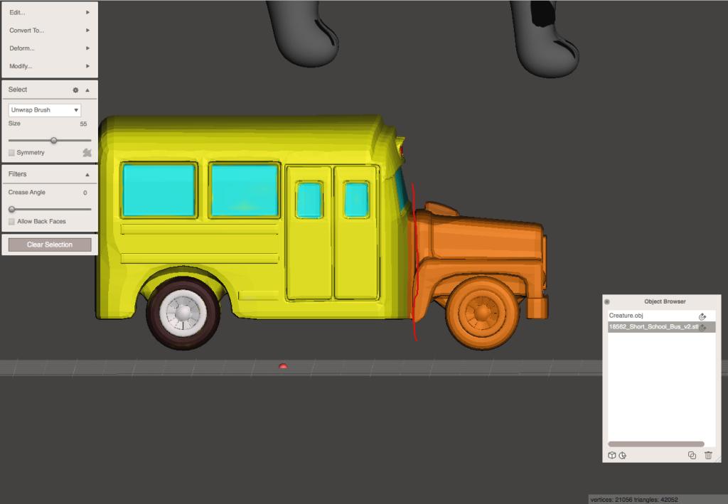 バスのデータをMeshmixerで切り刻みます