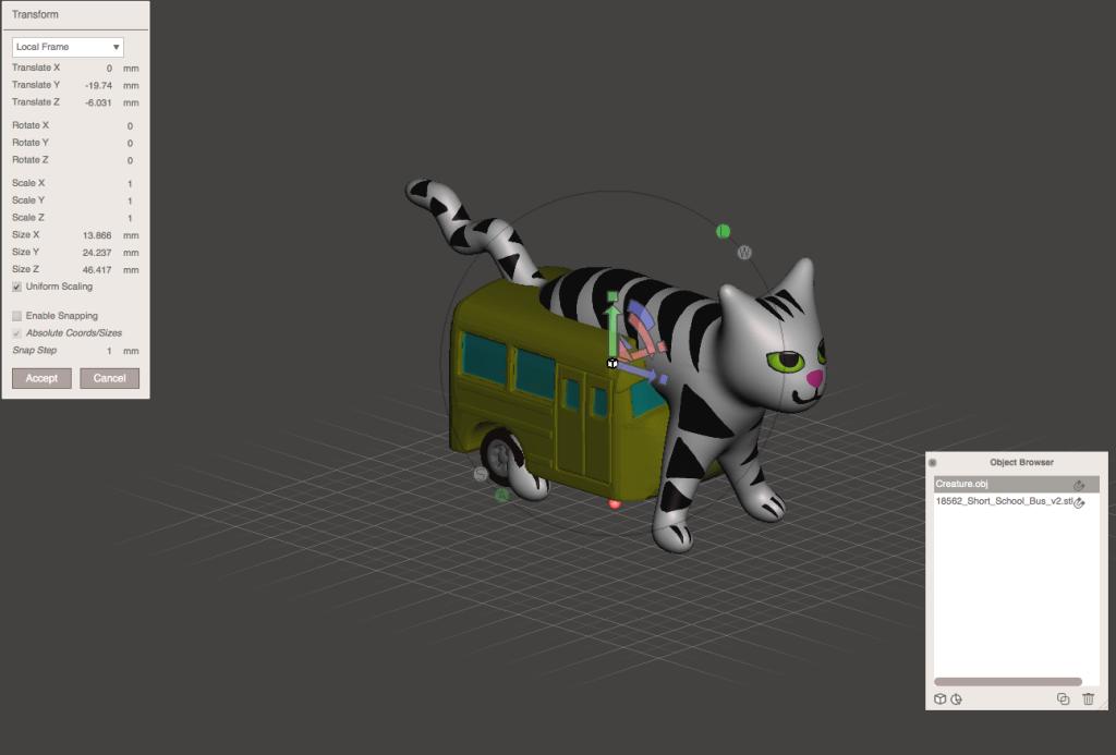 ネコのデータを移動してバスに近づける