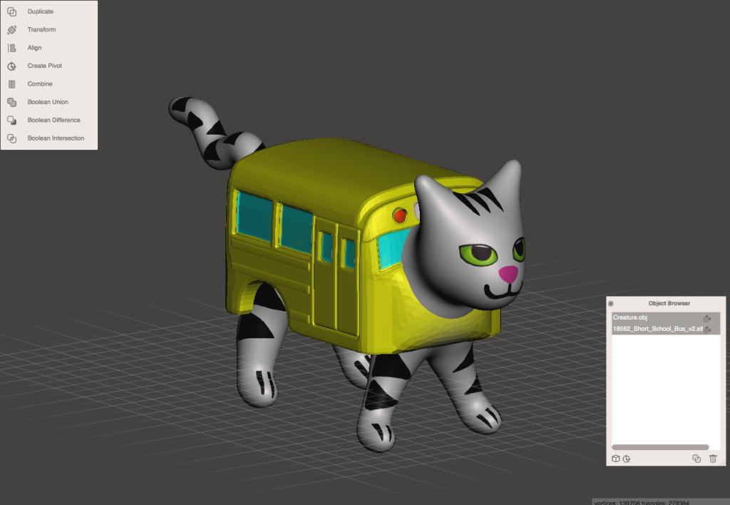 バスとネコの位置を調整する