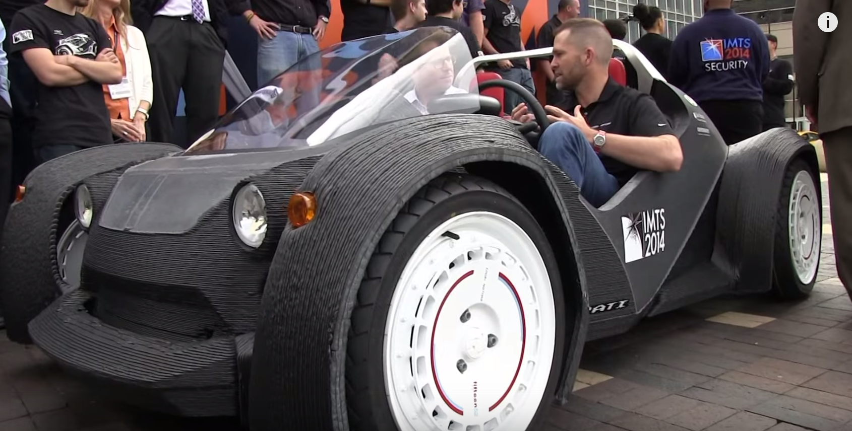 Strati The first 3D printed car. YES, we go for a ride! A new EV IMTS 2014