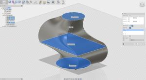 Fusion360のロフトで、中心線のレールを適用した状態
