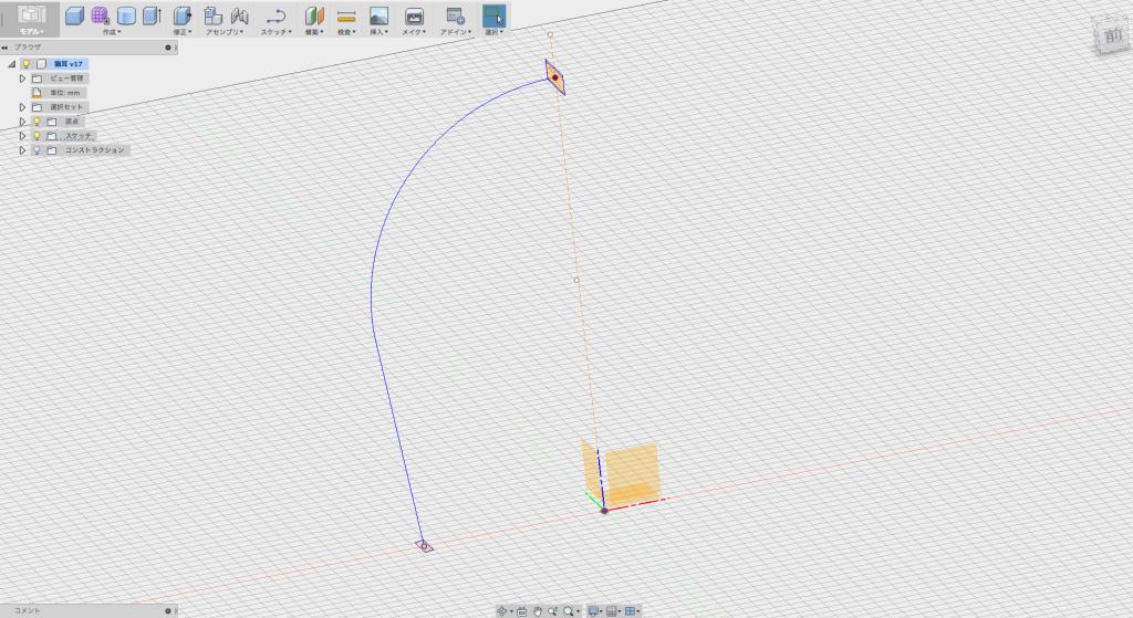 ヘアバンドの先端と中心に長方形を描く