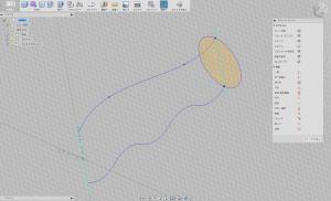 作業面に円形を描く