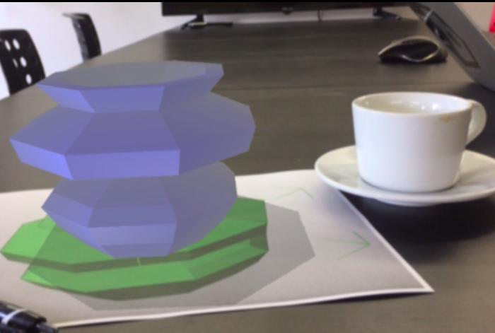 3Dモデルを皿に乗せて、オブジェの大きさを確認