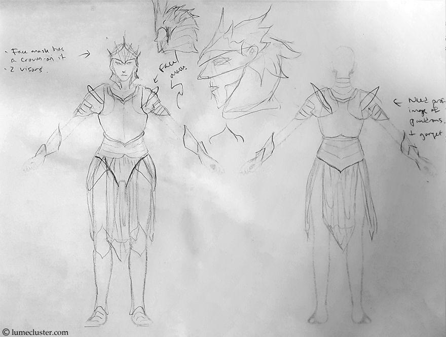 鎧のデザインスケッチ