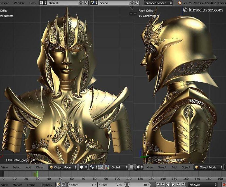 鎧の3Dモデリング