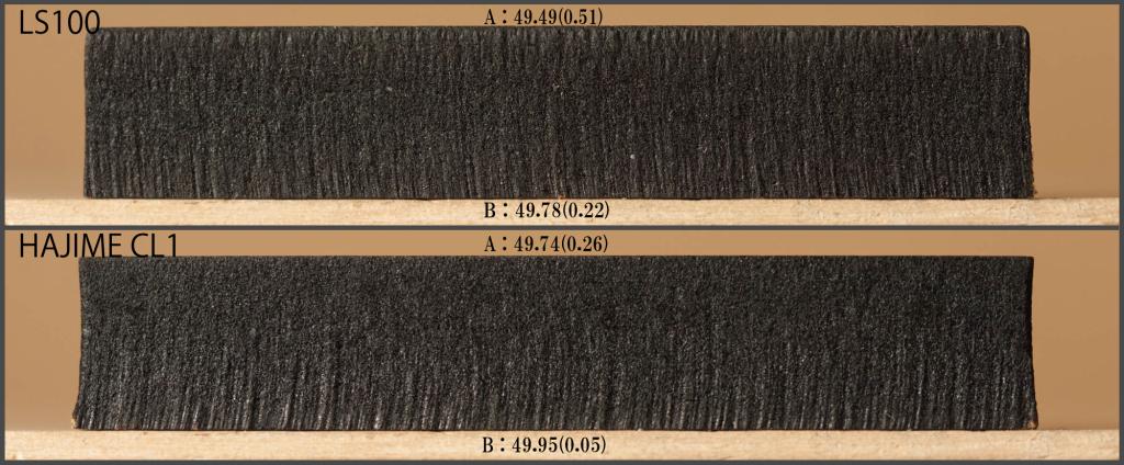 MDF9mmの切断面比較 ※括弧の数字は50mmとの差