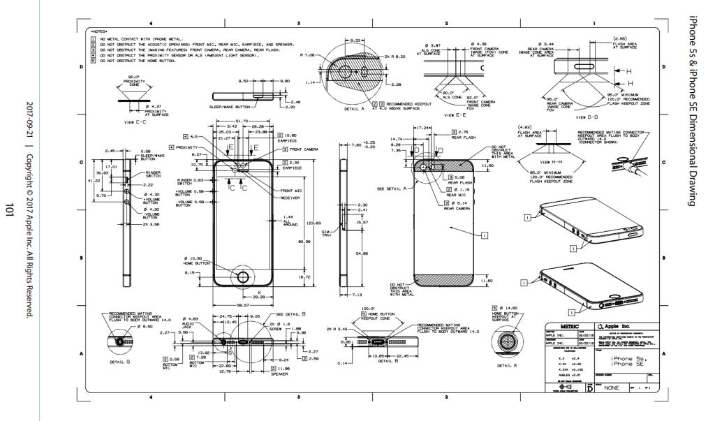iPhone SEの図面