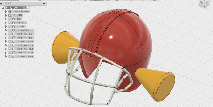 耳栓つきのアメフト用ヘルメット
