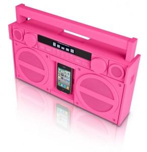 ラジカセ風iPhoneスピーカー ピンク