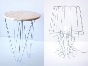 DIWIREによるワイヤー加工例 テーブルや照明