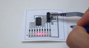 通電性のインクで薄いものにもプリント可能