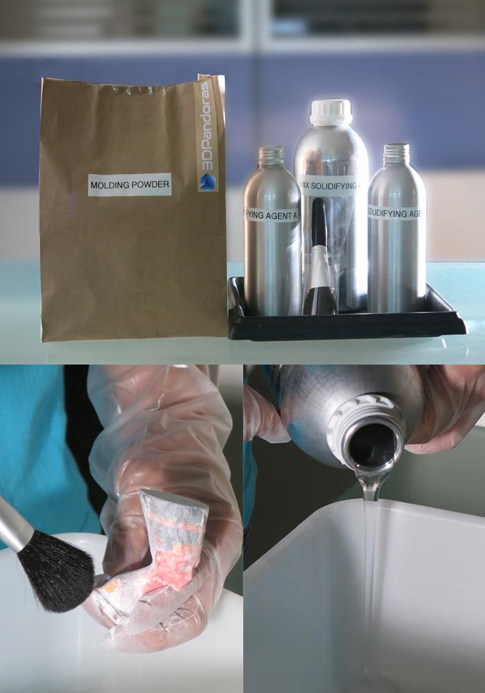 石膏型プリンターで造形物を取り出すプロセス