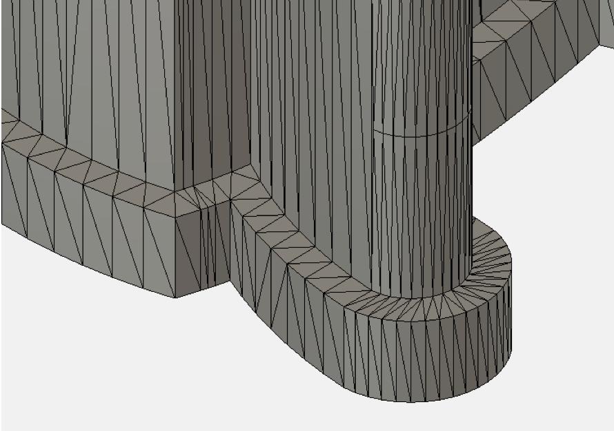 丸みのある部分もすべて三角形で表現されている