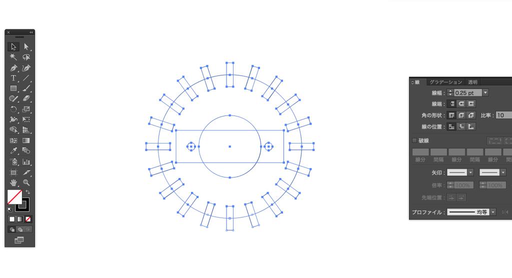回転と複写で効率的にベクターデーターを作る