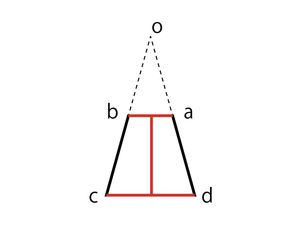 制作予定の円錐台の断面図