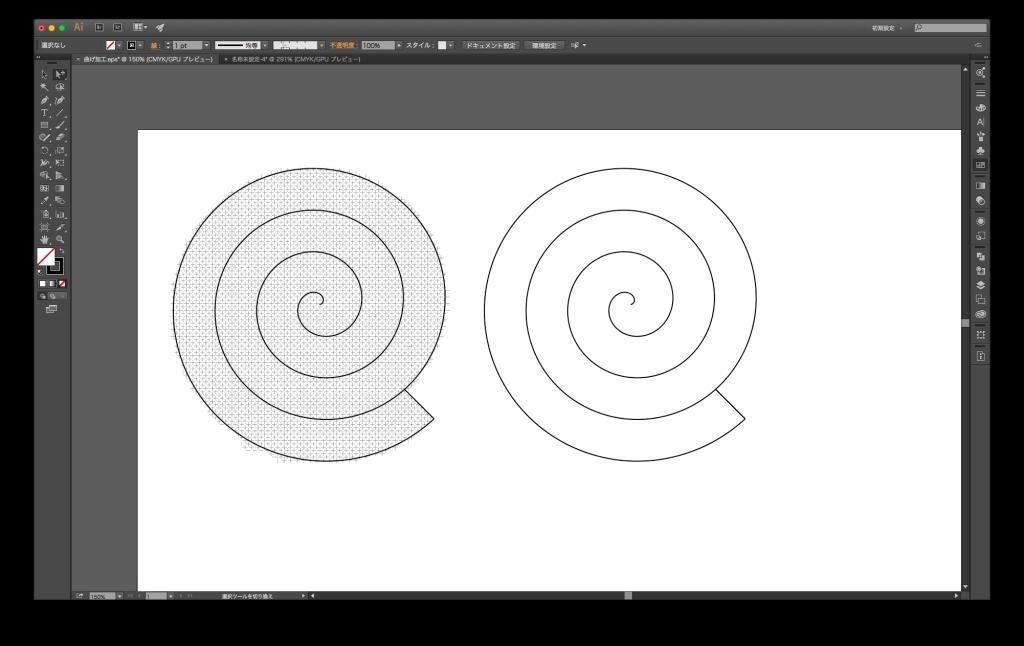 イラストレーターで螺旋を作る