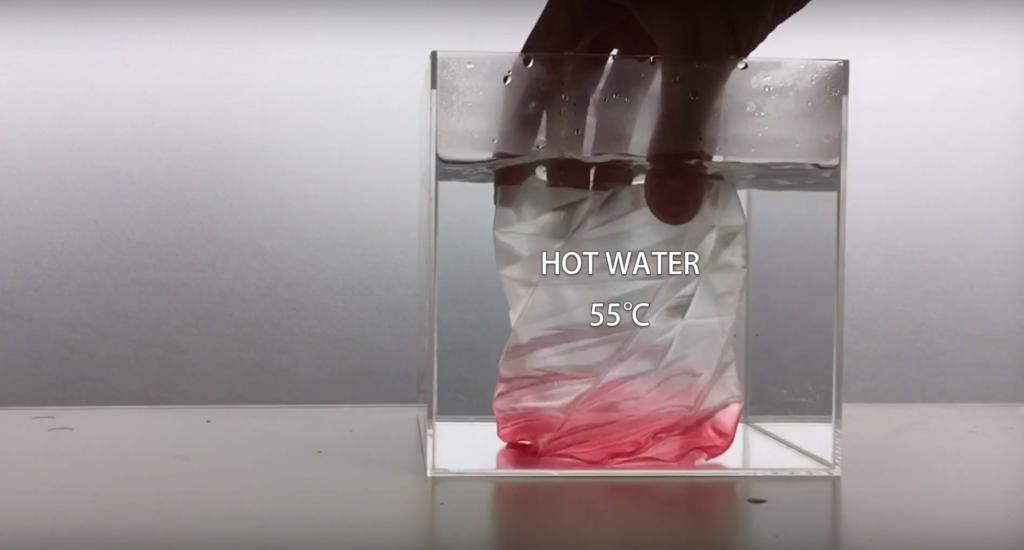 SMP55で3Dプリントした造形物を、55度以上のぬるま湯につけます