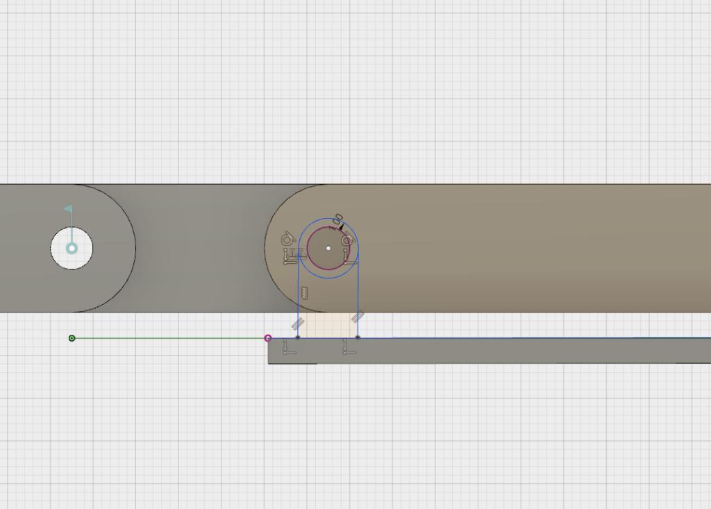 回転の軸となるスケッチを描く