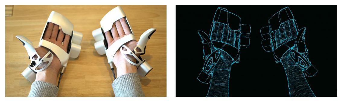 VR用外骨格型デバイスEXOS(エクソス)装着の様子