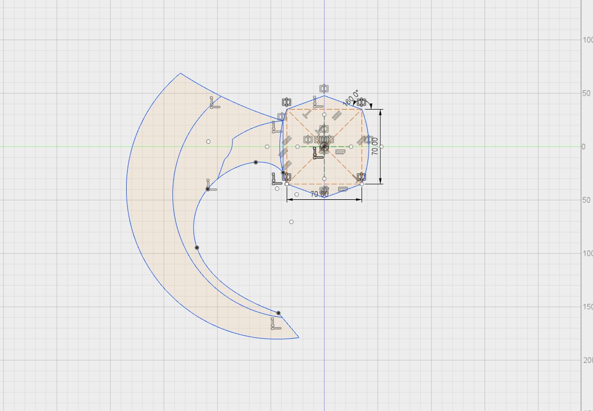 Fusion360のスケッチで、オノの形を作っていきます。