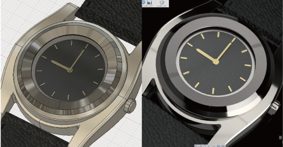Fusion360でレンダリングした時計のモデル