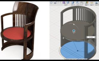 フランクロイドライトのバレルチェアの3Dデータ