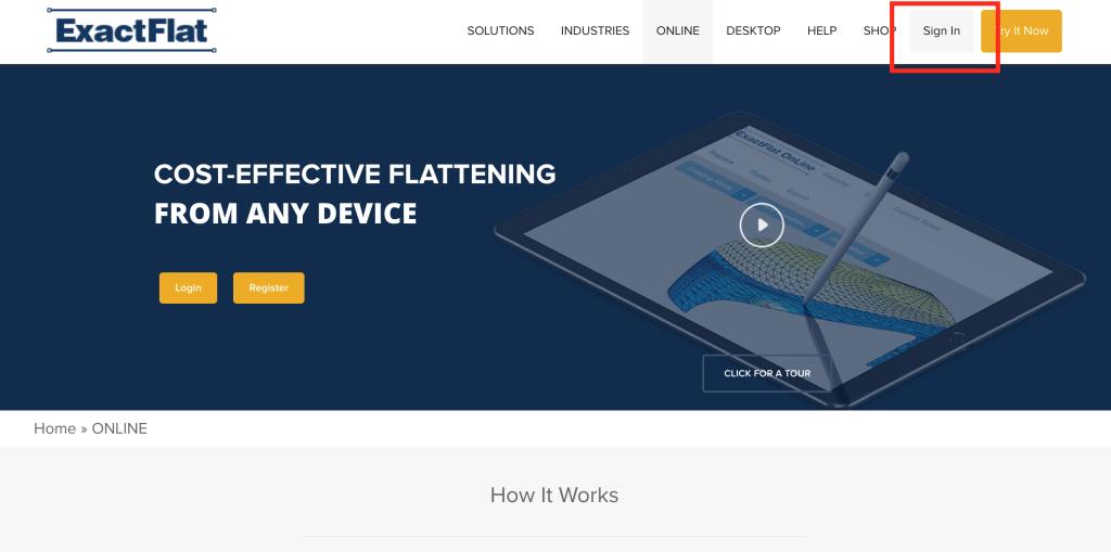 「Exact flat Online」にアカウント登録