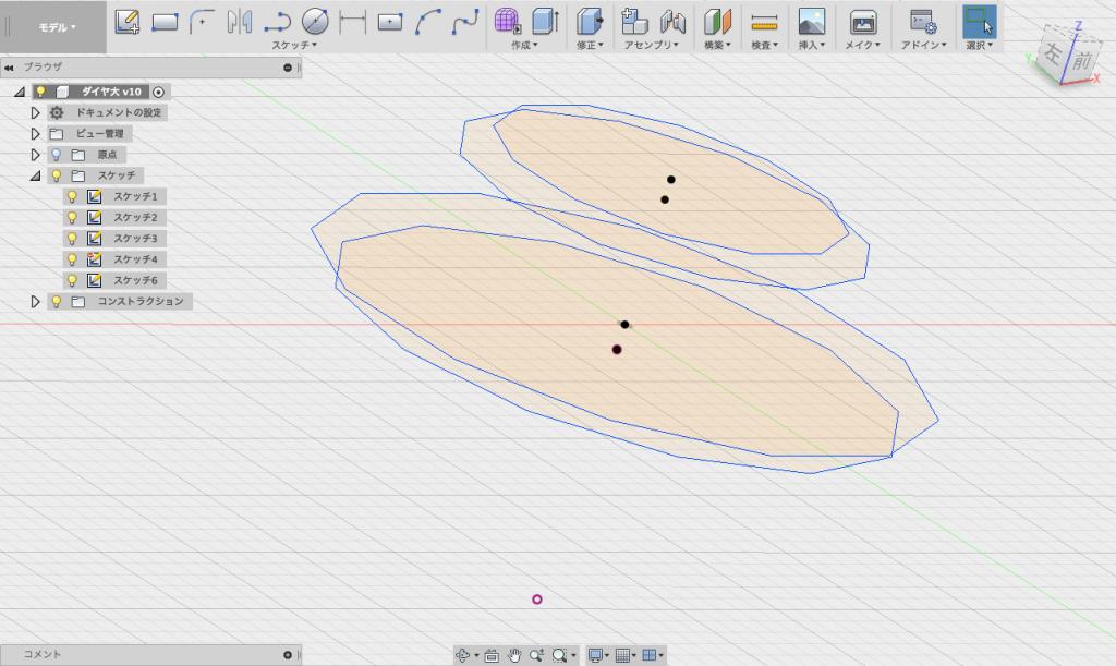 多層構造の、多角形を作る