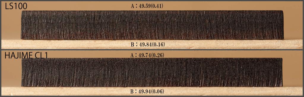 MDF5.5mmの切断面比較 ※括弧の数字は50mmとの差