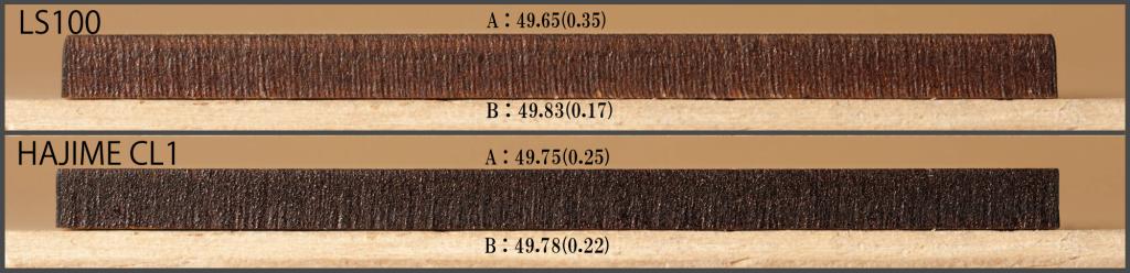 MDF3mmの切断面比較 ※括弧の数字は50mmとの差