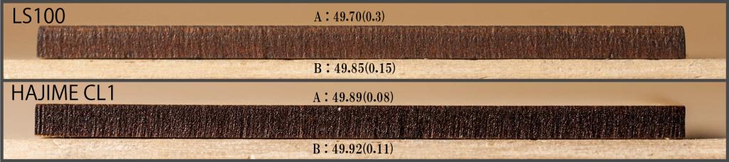 MDF2.5mmの切断面比較 ※括弧の数字は50mmとの差