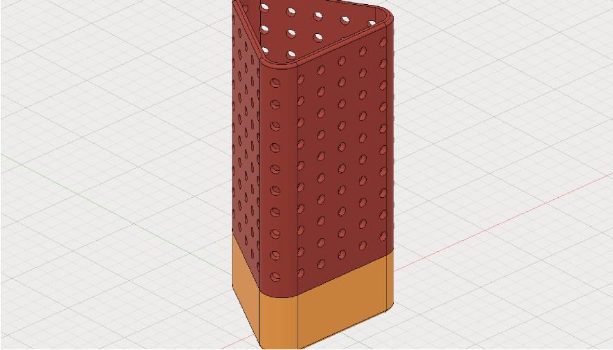 Fusion360でドットパターンのペン立て(下部は小物入れ)