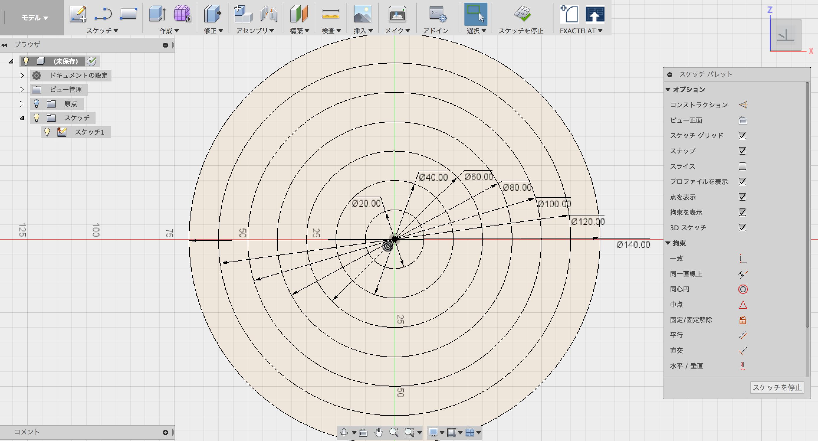 中心と直径で指定した円で、多重に重なる円を描く