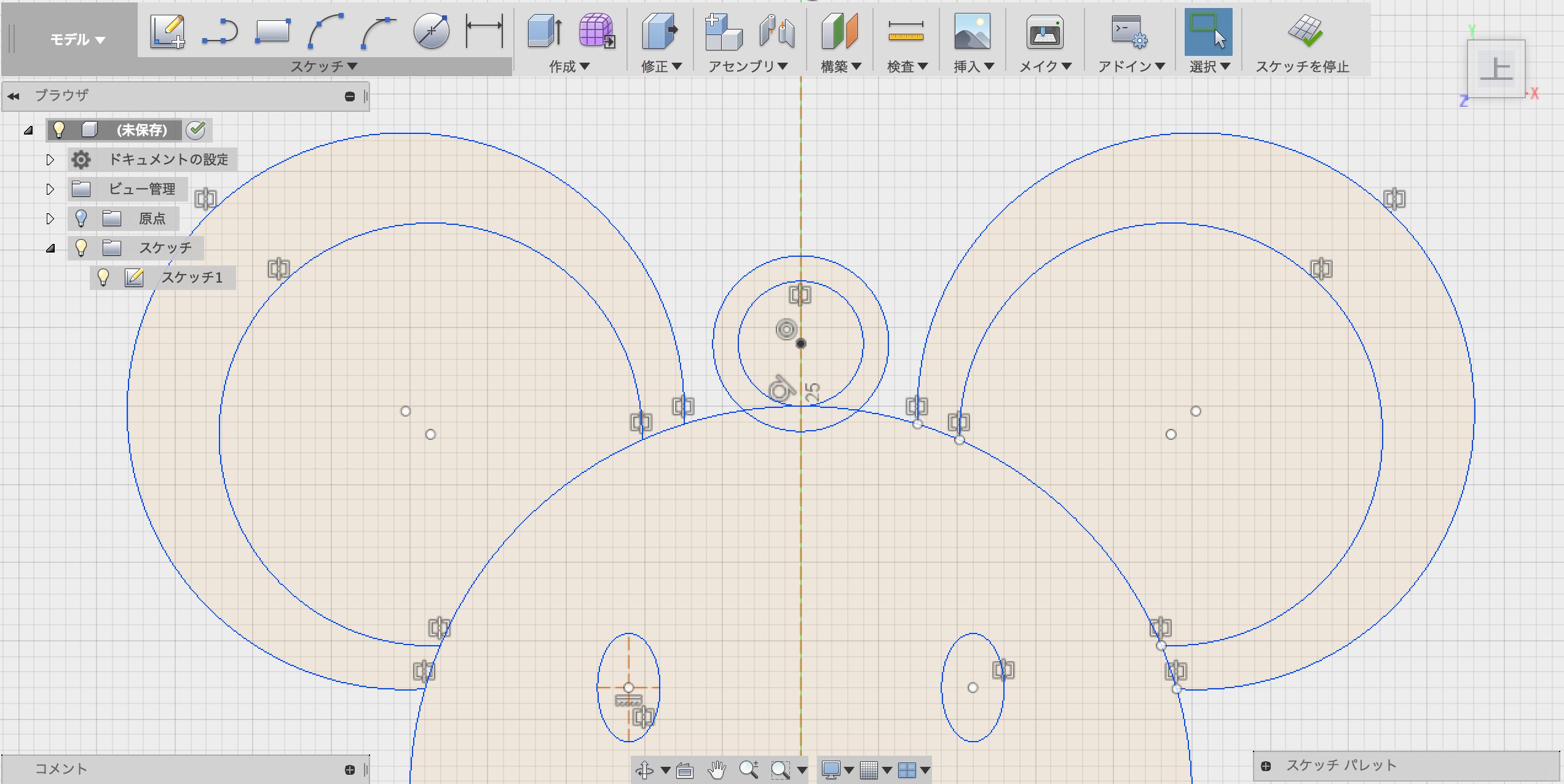 フックになる二重円を描く