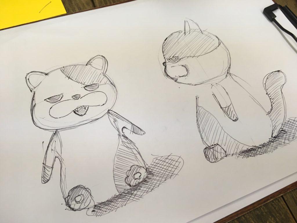 ネコのキャラクターの3面図