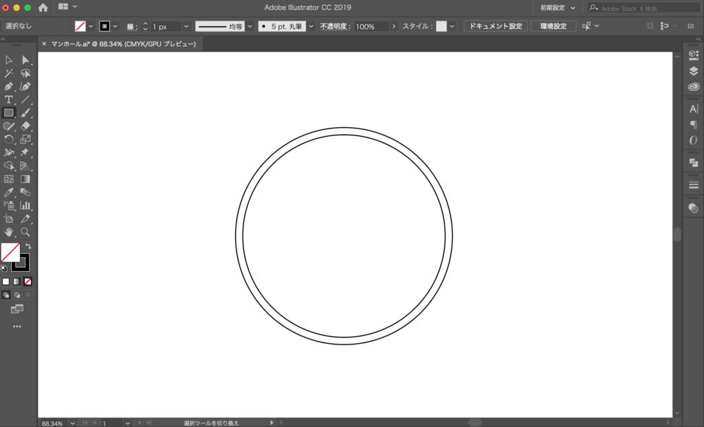 直径90mmの円を描く