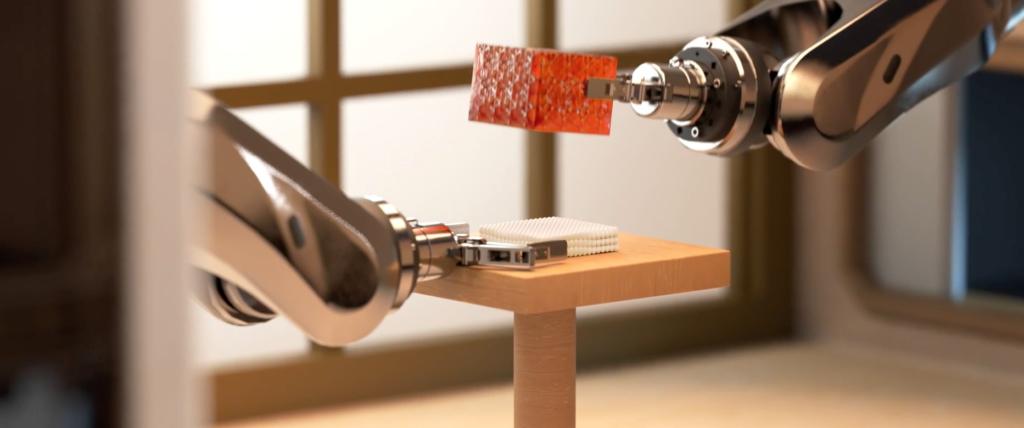 ロボットで寿司を組み立て