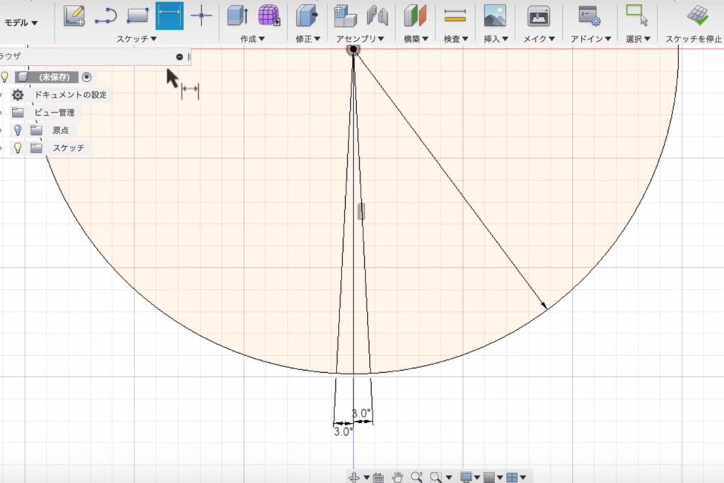 3度づつ角度をつけた線を描く