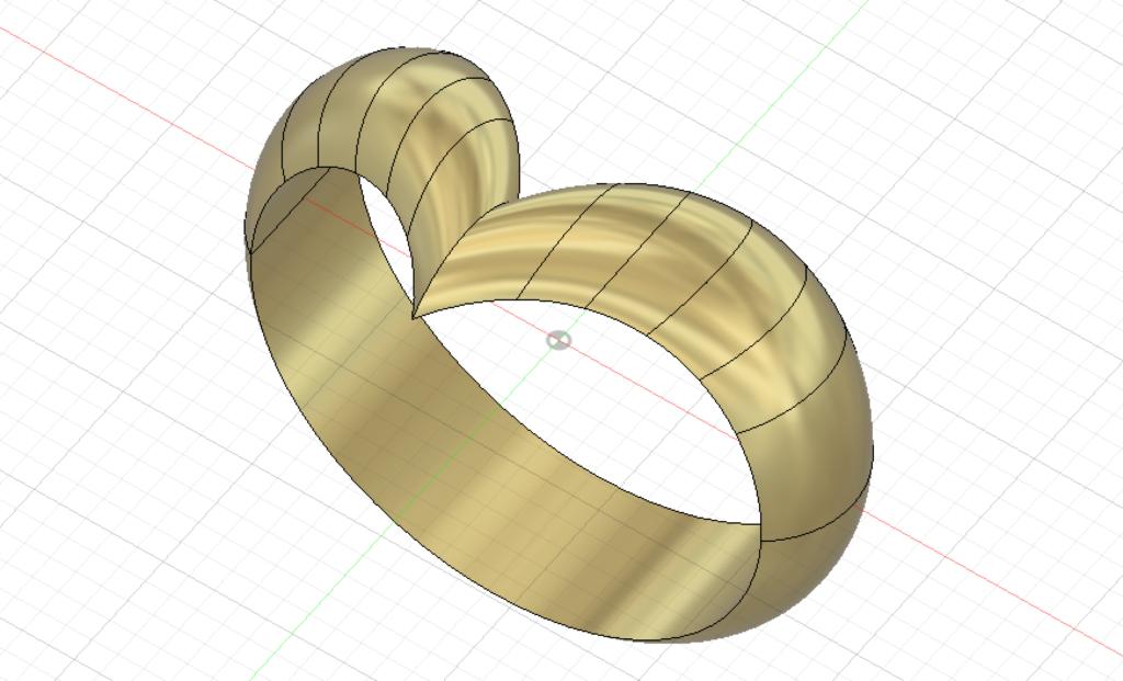 Fusion360のサーフェイスで作られた指輪