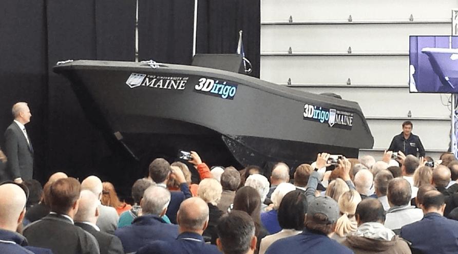 世界最大の3Dプリントボート3Dirigo 出典:メイン大学コンポジットセンター