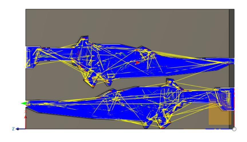 荒取り 負荷制御加工 Φ6mmフラットエンドミル クーラントなし 送り速度1440mm/min XY方向切削ピッチ5.7mm、Z方向切り込みピッチ5mm