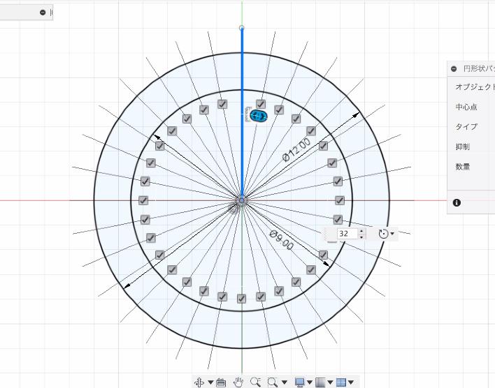 円形状パターンで複製