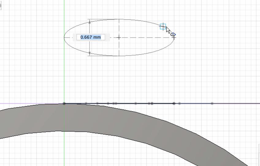 リングの正面に円弧を描く