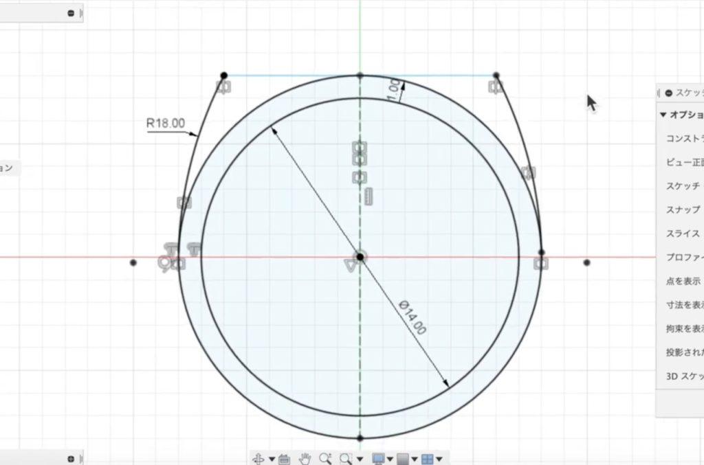 ro06 リングの側面に曲線を描く