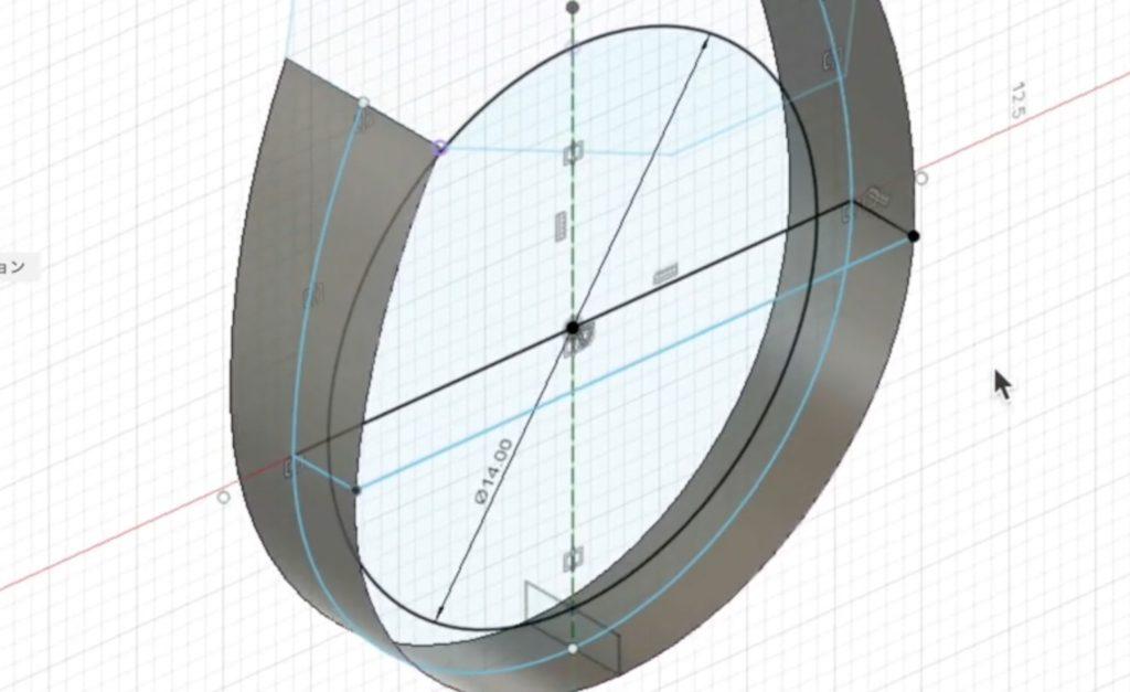 リングの中央に線を描く